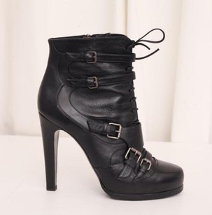 Tabitha Simmons Womens Leather Buckle Ankle Black Boots