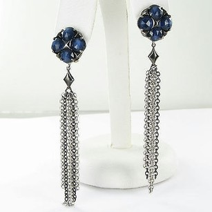 Tacori Tacori 18k925 Earrings City Lights Chain Drop Blue Quartz Hematite 925