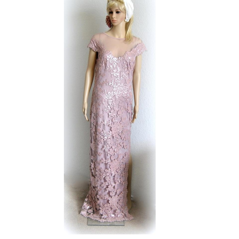 Tadashi Shoji Blush Cap-sleeve Sequine Embroidered-lace Gown Long ...