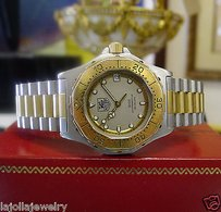 TAG Heuer Mens Mid Tag Heuer 3000 Professional 934.213 Steel Gold Plated Date Watch