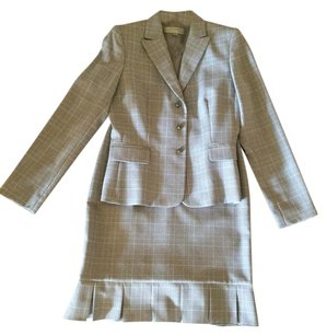 Tahari Black and blue check skirt suit