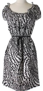Black, White (Multicolor) Maxi Dress by Tahari Belted Linen