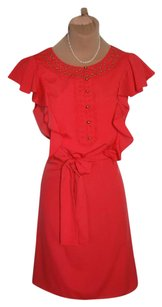 Tahari short dress CRIMSON RED Excellent Clean No Sign Of Wear Silk-like Poly on Tradesy