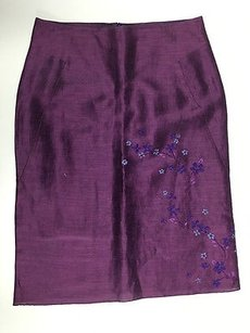 Tahari Linen Blend Skirt Purple