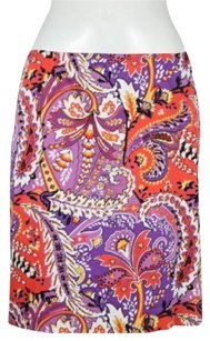 Tahari Womens Straight Floral Wtw Career Knee Length Skirt Purple, Red, White, Black, Yellow