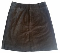 Tahari Suede Leather Mini Skirt Brown