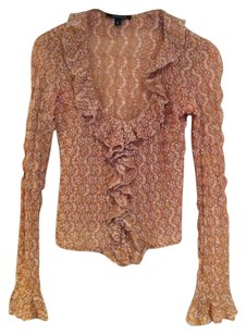 TAIGA Lace Gold Stretch Ruffled Top Beige/Gold