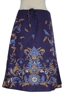 Talbots Womens Beige Floral Below Knee Skirt Multi-Color