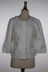Talbots Womens Solid White Jacket