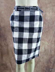 Talbots Black Checkered Skirt Black, White