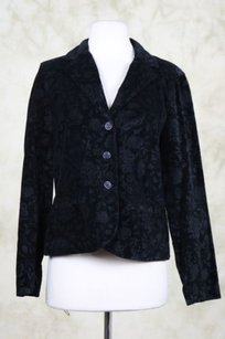 Talbots Talbots Womens Black Blazer Cotton Floral Wear To Work Basic Jacket