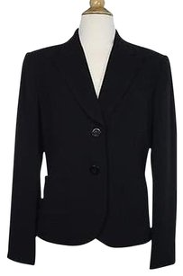 Talbots Talbots Womens Black Solid Blazer Long Sleeve Triacetate Blend Jacket
