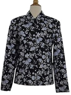 Talbots Talbots Womens Blue White Floral Blazer Long Sleeve Cotton Blend Jacket