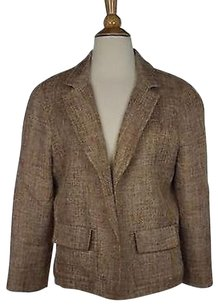 Talbots Talbots Womens Multi Color Knit Blazer Long Sleeve Linen Blend Open Front