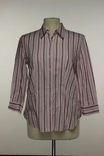 Talbots Womens Pink Striped Top Multi-Color
