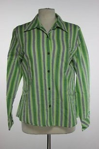 Talbots Womens Green Striped Top Multi-Color