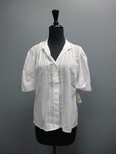 Talbots Striped Pleated Short Sleeved Womens Button Down 3279 Top White