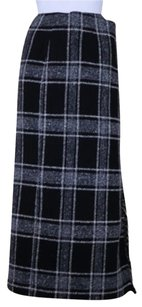 Talbots Womens Plaid Skirt Black / Gray / White