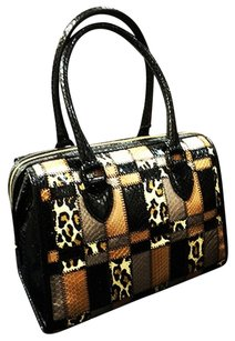 Tamara Mellon New Satchel in Multi-tan-leopard-black