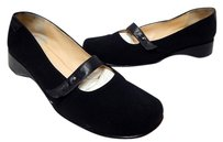 Taryn Rose Italy N Nylon Leather Mary Jane Wedge Loafers Black Flats