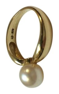 Tasaki Japan 8mm Akoya Pearl K18 Ring Size 6