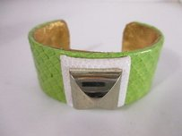Ted Rossi Ted Rossi Python Square Pyramid Cuff Bracelet Green White