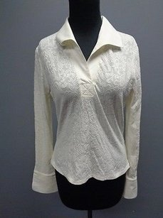 Tempo Paris Floral Embroidered Nylon Blend Collared Shirt Sma5931 Top Ivory