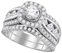 Ladies Luxury Designer 14k White Gold 2.25 Cttw Round Diamond Engagement Ring Fashion Bridal Set