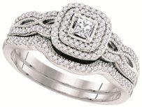 Luxury Designer 14k White Gold 0.40 Cttw Diamond Engagement Ring Bridal Set