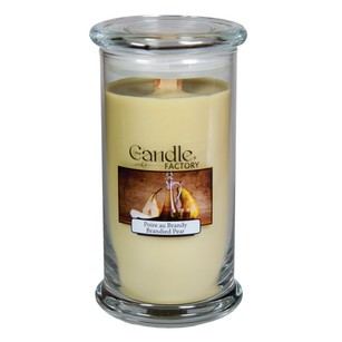 The Candle Factory Large 15-ounce Jar Crackling Candle Brandied Pear