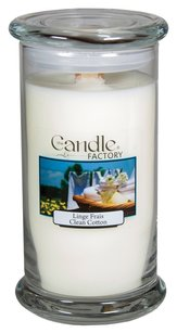 The Candle Factory The Candle Factory Large 15-ounce Jar Crackling Candle, Clean Cotton