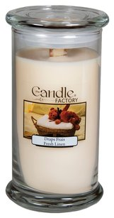 The Candle Factory The Candle Factory Large 15-ounce Jar Crackling Candle, Fresh Linen