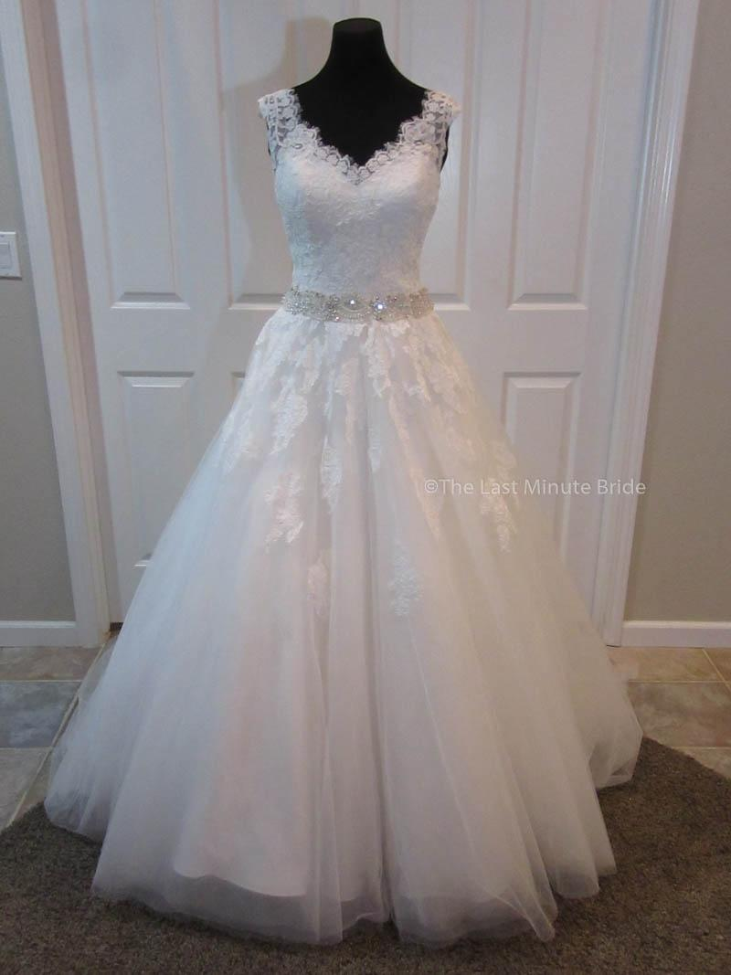 The Last Minute Bride Ivory Lace Tulle Charlotte Feminine Wedding Dress  Size 6 (S) ...