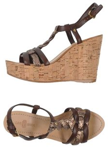 The Original Car Shoe Glitter Braided Leather Brown Wedges