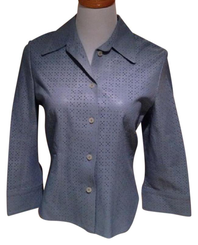 THE WRIGHTS Light Blue Jacket Style Blouse Size 6 (S ...
