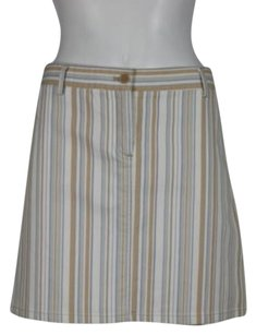 Theory Womens Striped Casual Above Knee Skirt White, Beige, Blue, Gray