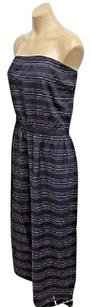 Blue Maxi Dress by Theory Navy Cotton Striped Bramnen Strapless Maxi 0