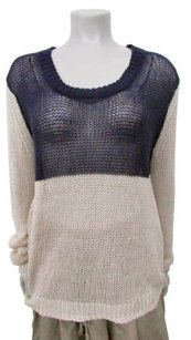 Theory Open Knit Color Block Long Sleeves Lg Sweater