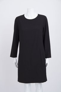 Theory short dress Black Stretch Wool Knit Scoop Neck Long Sleeve Drop Waist Shift on Tradesy