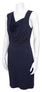 Theory Navy Silk Draped Sleeveless Fitted Cocktail Pxs Dress