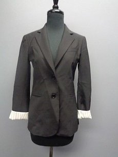 Theory Theory Black Button Lined Button Cuffed Wool Blend Blazer Sma6156