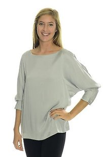 Theory 34 Sleeve Stretch Silk Top Grays