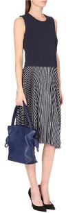 Theory Zeyn Stripe Silk Pleated Skirt Navy