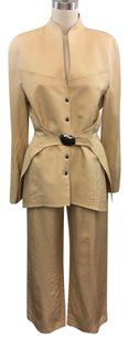Thierry Mugler Thierry Mugler Paris Beige Silk Belt Around Structured Pant Suit