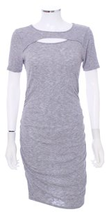 Three Dots short dress Heather Grey Cut-out Wool Pencil Cap Sleeve Ruched on Tradesy