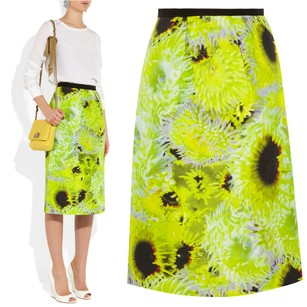 Tibi Bold Floral Silk Bright Skirt Neon Green