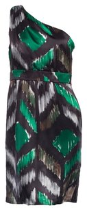Tibi Ikat One Shoulder Silk Empire Waist Chevron Dress