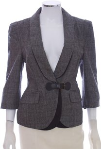 Tibi Tweed Coat Wool Cashmere 3/4 Sleeve Black and White Blazer