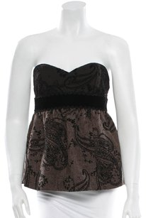 Tibi Velvet Paisley Strapless Sweetheart Empire Top Brown, Black