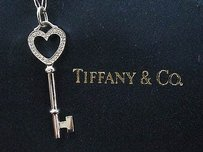 Tiffany & Co. Tiffany,Co,18kt,Heart,Key,Diamond,Pendant,W,Chain,16,1.5,.08ct